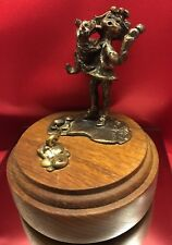 1970 Dan Levin Little Girl Bronze Eating Ice cream With Her Dog RARE & CUTE!!!