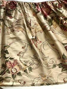 Ralph Lauren Guinevere Aragon QUEEN Bed Skirt Dust Ruffle Drop Tan Floral Roses