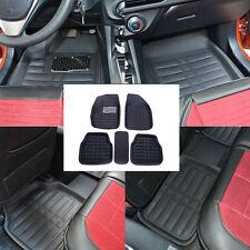 5PCS PU Leather Car Floor Mats Front Rear in Black Interior Mat Carpets Handy