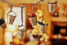 CHRISTMAS Garnet Hill Galvanized Metal Advent Calendar Buckets Garland
