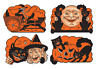 "VINTAGE BEISTLE HALLOWEEN 4 CUTOUTS 9"" DECORATION BLACK CAT PUMPKIN WITCH MOON"