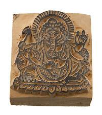 Ganesha Elefante Sello Tinta Bloque Madera Tallado GM-5486