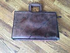 Vintage Distressed Brown Leather Portfolio Attache Briefcase Retractable Handles