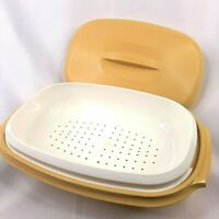 Vintage Tupperware 3 Pc Microwave Steamer and Covered Serving Bowl Harvest Gold
