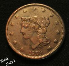 1839 Coronet Head Large Cent <> N-8 R1 Petite Head/Braided Hair <> F+ Details