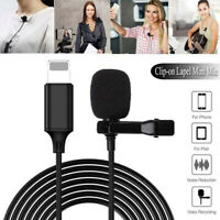 Pro Lavalier Lapel Mini Stereo Microphone Clip on Condenser For iPhone iPad IOS