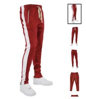 Premium Side Strip Zip Pockets Red Track Pants Off White Draw String Size Large