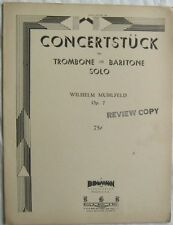 Concertstuck Wilhelm Muhlfeld for Trombone Sheet Music 1938