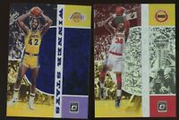 2019/20 Panini Optic JAMES WORTHY+ HAKEEM OLAJUWON SILVER HOLO + PURPLE Prizm