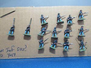 Union Infantry 14 15-18 mm lead figures,
