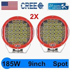 2X 185W Round 9''inch Cree Led Driving Work Light Offroad Truck 4WD SUV 96W 160W