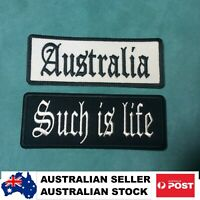Leather Jacket Vest Biker Patch AUSTRALIA + SUCH IS LIFE  Ned Kelly saying