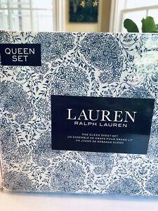 Ralph Lauren *QUEEN* Blue Indigo Floral Paisley French Cottage 4pc Sheet Set NEW
