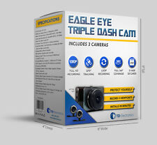 EagleEye Triple Dash Trucker Cam,1 Front Facing Windshield Cam,2 Waterproof Cams
