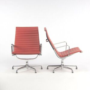 2010 Herman Miller Eames Aluminum Group Lounge Chair in Red Leather 2x Available