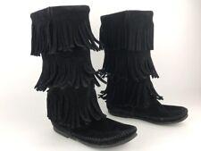 Minnetonka Boots Women's Mid Calf Moccasins 3 Layer Fringe Black Suede Sz 6