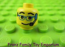 LEGO Minifigure Yellow HEAD Blue Glasses Headset Body Part #H71