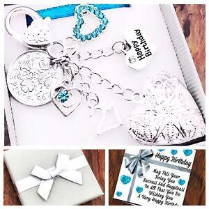 16th 18th 21st Birthday Gift, Sixpence, Aqua Heart Locket, 40th 50th Box & Card