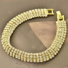 Around Much Row CZ 9K Yellow Gold Filled Womens Bracelet 190*10mm F5022