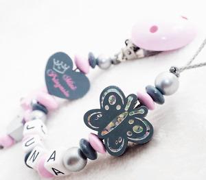 Schnullerkette mit Namen Mini Prinzessin ♥ Krone ♥Baby Mädchen rosa Nuckelkette