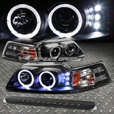 BLACK DUAL HALO PROJECTOR+LED HEADLIGHT+SMOKED 3RD BRAKE LIGHT FOR 99-04 MUSTANG