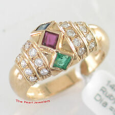 14k Yellow Gold Genuine & Natural Diamond, Ruby, Sapphire, Emerald Band Ring TPJ