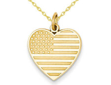 Heart Shaped American Flag Charm Pendant 14K Yellow Gold