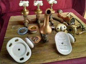 Vintage Plumbing Solid Brass And Porcelain Tub Faucet Fixture Soap, Brush holder