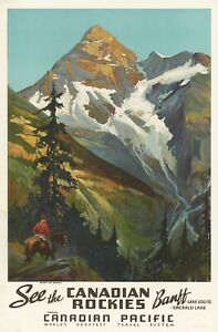 Vintage Travel Poster See the Canadian Rockies Canadian Pacific