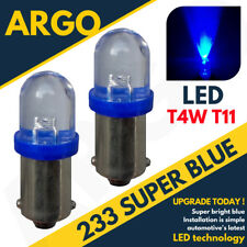 NEW 2 X BLUE LED BULBS 12 VOLT BULBS 233,T4W,BA9S SIDE LIGHT INTERIOR 233LED