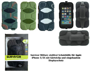 iPhone 5 / 5S Schutzhülle Survivor Military stoßfest Applemit Gürtelclip Hülle