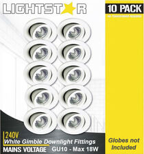 10 x White Gimbal Downlight Fittings 240V GU10 Gimble Adjustable Tilt Max 18W