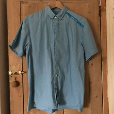 RAPHA Cycling Shirt Size Large Short Sleeve Blue Gingham Sky Pro Button Down