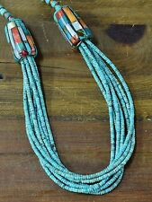 Vintage Santo Domingo Spiny Oyster Shell and Multistrand Turquoise Necklace