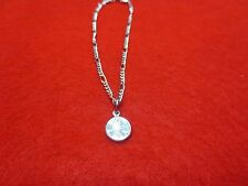 """14Kt White Gold Plated 9 1/2"""" Figaro Anklet W/Mini Lucky Penny- Usa Seller"""