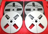 "++ NEW ++ 2 ORIGINAL UHER EMPTY PRECISION METAL REELS (ALU) 7"" (= 18 cm); 1/4"""