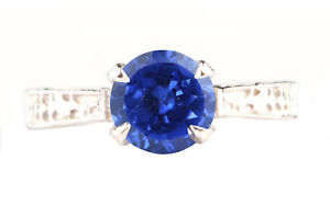 1.40Ct Round Shape Natural Tanzania Blue Tanzanite Solitaire Ring In 14KT Gold