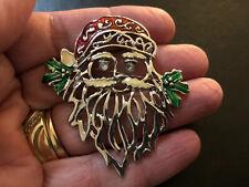 Enamel Estate Jewelry Santa Claus Brooch