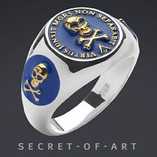 Masonic Ring Virtus Blue Lodge Silver 925 Sterling with 24K Gold Plated Parts