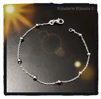 Bracelet Fines Boules En Argent Massif 925/1000 Rhodié Bijoux NEUF