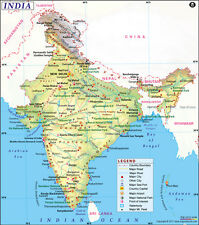 "Map of India (Wall Map) 36"" x 40.75"" Paper"