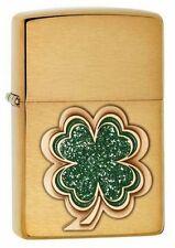 Zippo 28806 Shamrock Brushed Brass Finish Emblem Lighter