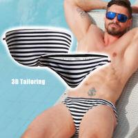 Mens Sexy Drawstring Striped Swimwear Low Waist Summer Beach Briefs Swimming
