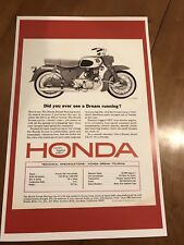 Vintage Honda Dream Ca77 Cb77 Motorcycle Ad Poster Home Decor Man Cave Art