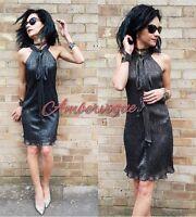 ZARA BLACK  SHINY SHIMMERY FRONT BOW HALTERNECK DRESS SIZE L UK 12