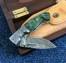 ALISTAR SUPERB DAMASCUS STEEL FOLDING/POCKET KNIFE WITH WOODEN GIFT BOX (10-1