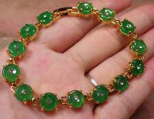 Gold Plate Green JADE Circle Bead Beads Bangle Bracelet Diamond Imitation 297541