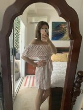 White And Red Stripe Bardot Dress