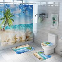 4Pcs Beach Palm Tree Bathroom Shower Curtain Bath Mat Rug Toilet Cover