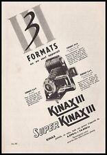 Publicité KINAX III   appareil photo vintage print ad  1954 - 10h